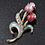 Pink Enamel Diamante 'Tulip' Brooch In Gold Finish - 5cm Length - view 6