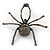 Giant Dim Grey Crystal Spider Brooch In Gun Metal Finish - 7cm Length - view 1