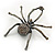 Giant Dim Grey Crystal Spider Brooch In Gun Metal Finish - 7cm Length - view 2