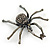 Giant Dim Grey Crystal Spider Brooch In Gun Metal Finish - 7cm Length - view 5