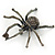 Giant Dim Grey Crystal Spider Brooch In Gun Metal Finish - 7cm Length - view 6