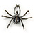 Giant Dim Grey Crystal Spider Brooch In Gun Metal Finish - 7cm Length - view 4