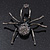 Giant Dim Grey Crystal Spider Brooch In Gun Metal Finish - 7cm Length - view 3