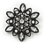 Victorian Style White Acrylic/Clear Crystal Floral Brooch In Black Metal - 4.5cm Diameter