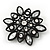 Victorian Style White Acrylic/Clear Crystal Floral Brooch In Black Metal - 4.5cm Diameter - view 2