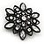 Victorian Style White Acrylic/Clear Crystal Floral Brooch In Black Metal - 4.5cm Diameter - view 3