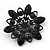 Victorian Style White Acrylic/Clear Crystal Floral Brooch In Black Metal - 4.5cm Diameter - view 4