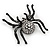 Large Swarovski Crystal 'Spider' Brooch In Black Metal - 6cm Length - view 5