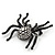 Large Swarovski Crystal 'Spider' Brooch In Black Metal - 6cm Length - view 6