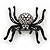 Large Swarovski Crystal 'Spider' Brooch In Black Metal - 6cm Length - view 4