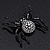 Large Swarovski Crystal 'Spider' Brooch In Black Metal - 6cm Length - view 2