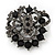 Dim Grey & Jet-Black Diamante Corsage Brooch In Gun Metal Finish - 5cm Diameter