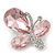 Light Pink/Clear Glass Crystal Asymmetrical 'Butterfly' Brooch In Silver Plating