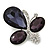 Amethyst/Clear Glass Crystal Asymmetrical 'Butterfly' Brooch In Silver Plating