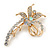 Clear Crystal Fancy 'Floral' Brooch In Gold Plating - 5.5cm Length