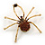 Large Amber Coloured Swarovski Crystal 'Spider' Brooch In Gold Plating - 6.5cm Length