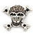 Diamante 'Skull & Crossbones' Brooch In Burn Silver - 4cm Length - view 6