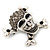 Diamante 'Skull & Crossbones' Brooch In Burn Silver - 4cm Length - view 3