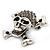 Diamante 'Skull & Crossbones' Brooch In Burn Silver - 4cm Length - view 4