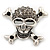 Diamante 'Skull & Crossbones' Brooch In Burn Silver - 4cm Length