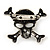Diamante 'Skull & Crossbones' Brooch In Burn Silver - 4cm Length - view 5
