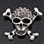 Diamante 'Skull & Crossbones' Brooch In Burn Silver - 4cm Length - view 2