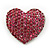 Pink Swarovski Crystal Pave Set 'Heart' Brooch In Silver Plating - 3.5cm Length - view 1