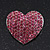 Pink Swarovski Crystal Pave Set 'Heart' Brooch In Silver Plating - 3.5cm Length - view 2