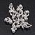 White Simulated Pearl/ Clear Crystal Floral Brooch In Rhodium Plating - 6cm Length - view 3