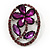Purple Crystal Daisy In The Oval Frame  Brooch In Silver Plating - 4.5cm Length