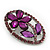 Purple Crystal Daisy In The Oval Frame  Brooch In Silver Plating - 4.5cm Length - view 3