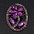Purple Crystal Daisy In The Oval Frame  Brooch In Silver Plating - 4.5cm Length - view 2