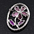 Purple Crystal Daisy In The Oval Frame  Brooch In Silver Plating - 4.5cm Length - view 4