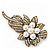 Vintage Bridal Swarovski Crystal Faux Pearl Floral Brooch In Burn Gold Tone - 7cm Length - view 7