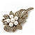 Vintage Bridal Swarovski Crystal Faux Pearl Floral Brooch In Burn Gold Tone - 7cm Length - view 6