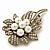Vintage Bridal Swarovski Crystal Faux Pearl Floral Brooch In Burn Gold Tone - 7cm Length - view 4