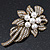 Vintage Bridal Swarovski Crystal Faux Pearl Floral Brooch In Burn Gold Tone - 7cm Length - view 2