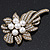 Vintage Bridal Swarovski Crystal Faux Pearl Floral Brooch In Burn Gold Tone - 7cm Length - view 8