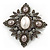 Swarovski Crystal Imitation Pearl Corsage Brooch In Gun Metal Finish - 6cm Length