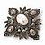 Swarovski Crystal Imitation Pearl Corsage Brooch In Gun Metal Finish - 6cm Length - view 2