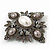 Swarovski Crystal Imitation Pearl Corsage Brooch In Gun Metal Finish - 6cm Length - view 3