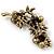 Swarovski Crystal Floral Brooch (Antique Gold & Black) - 5.5cm Length - view 2