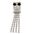 Clear Crystal 'Owl' With Dangling Tail Brooch In Rhodium Plating - 8.5cm Length - view 8