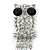 Clear Crystal 'Owl' With Dangling Tail Brooch In Rhodium Plating - 8.5cm Length - view 9