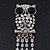 Clear Crystal 'Owl' With Dangling Tail Brooch In Rhodium Plating - 8.5cm Length - view 3