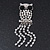 Clear Crystal 'Owl' With Dangling Tail Brooch In Rhodium Plating - 8.5cm Length - view 1