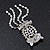 Clear Crystal 'Owl' With Dangling Tail Brooch In Rhodium Plating - 8.5cm Length - view 6