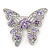 Dazzling Light Amethyst Swarovski Crystal Butterfly Brooch In Rhodium Plating - 6cm Length