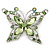 Pale Green Diamante Butterfly Brooch In Rhodium Plating - 5.5cm Lengther Tone