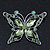 Pale Green Diamante Butterfly Brooch In Rhodium Plating - 5.5cm Lengther Tone - view 2